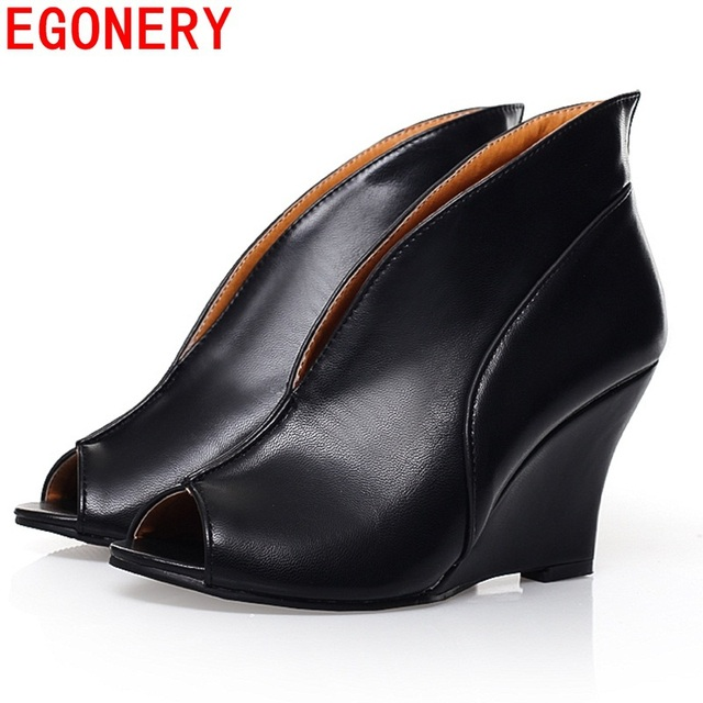 EGONERY shoes 2016 new Women's Sexy High Heels Peep Toe Pumps Fashion Wedges Shoes Woman Spring Autumn Pumps Women shoes
