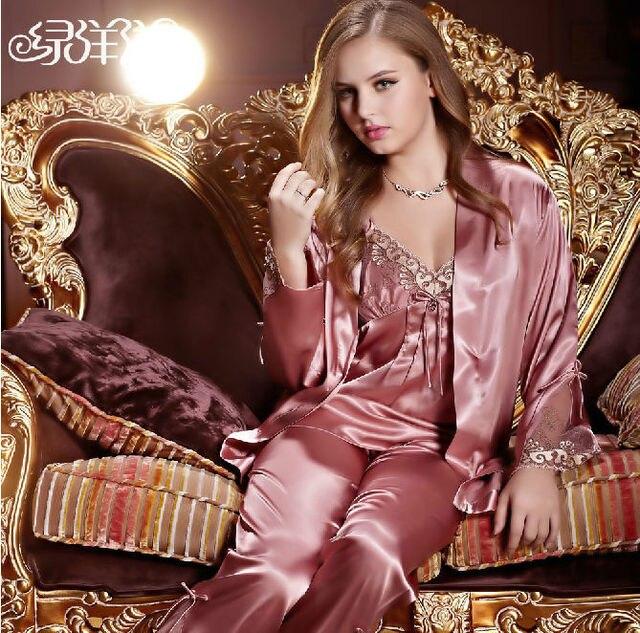 d07805a878bd 2013 new style NWT women s ladies faux silk satin robe sets silver pink  sleepwear skirt lounge 3 piece wrap pajamas set 5578