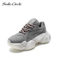 Smile Circle/сникерсы на массивном каблуке, женская зимняя обувь, теплая плюшевая повседневная обувь на платформе со шнуровкой, женские сникерсы