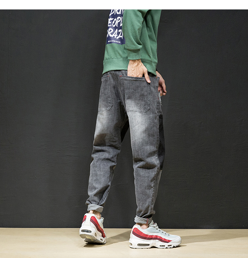 KSTUN Jeans Men Japan Harem Pants Ripped Patched Hip hop Joggers Distressed Biker Jeans Grey Stretch Casual Denim Trousers Boys 14