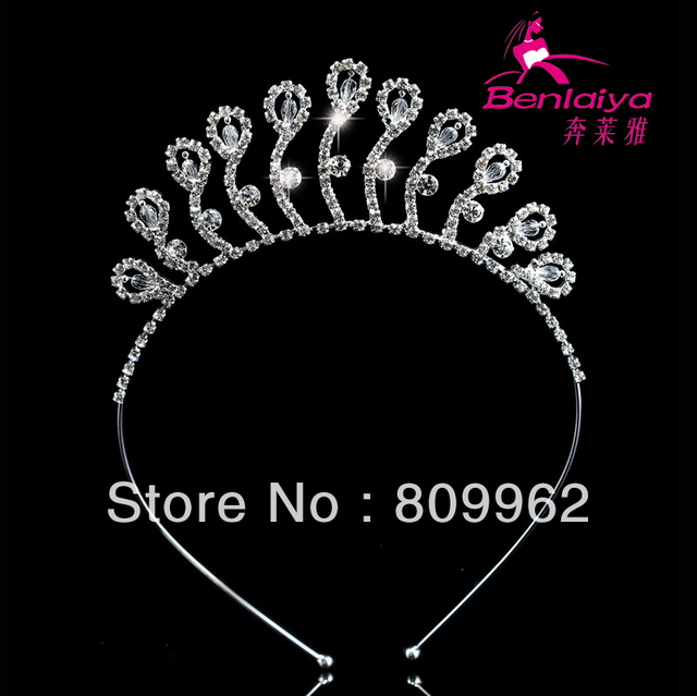 2013 News 4pcs/lot Free Shipping Peacock Crystal Jewelry Fashion Princess Tiara/Crown Girls Wedding Hair Accessory 111673