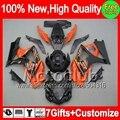 7gift  For SUZUKI orange black GSX R1000 07 08 GSXR-1000 07-08 89MC59 GSXR 1000 K7 Orange GSX-R1000 GSXR1000 2007 2008 Fairing