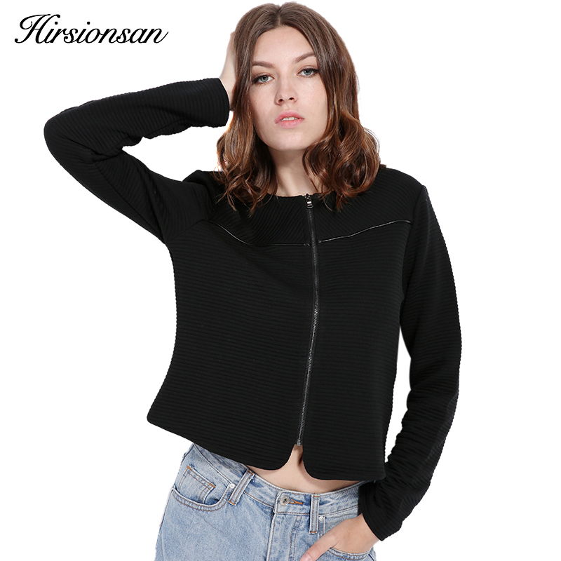 Hirsionsan Women   Basic     Jacket   2017 Spring New Solid Zipper Bomber   Jacket   Cool Baseball Short Coat Black Chaquetas Biker Outwear