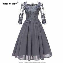 8736a93ee Cuando elegante Retro vestido de gasa CD1663 2019 mujeres de la primavera  de 3 4