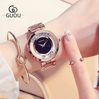 GUOU Women's Watches Rose Gold Ladies Watch Fashion Luxury Bracelet Watches For Women Rhinestone Clock Women reloj mujer saat