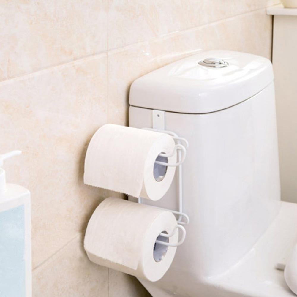 Bathroom Toilet Seat Roll Paper Holder Hanging Organizer 2 Layers Stainless Steel Tissue Towel Shelf Kitchen Storage Rack Door