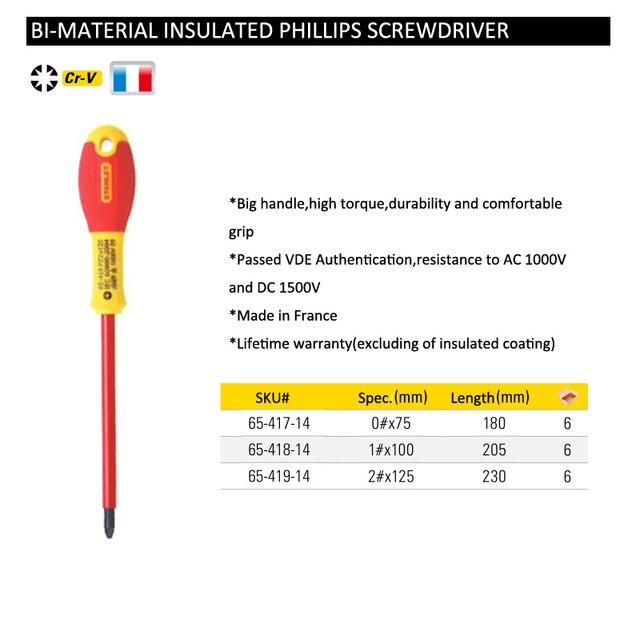 Stanley 1 piece profession grade 1000V voltage VDE insulated screwdriver high torque electrician screwdrivers FatMax 6