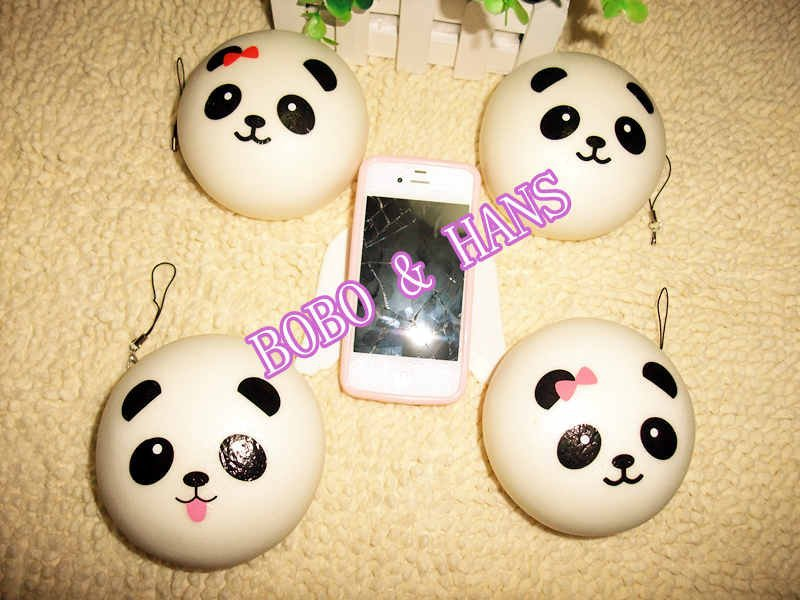 bilder für Neue Nette jumbo 10 cm panda baby squishy charme/PU spielzeug mit gurt/Großhandel