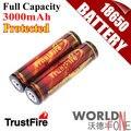 Genuine Plena Capacidad 3000 mAh TrustFire 18650 3.7 V Li-ion Recargable con PCB Protegidas 2 Unids/lote