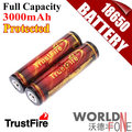 TrustFire Genuine Full Capacity 3000mAh 18650 3.7V Li-ion Rechargeable Battery with Protected PCB 2PCS/Lot