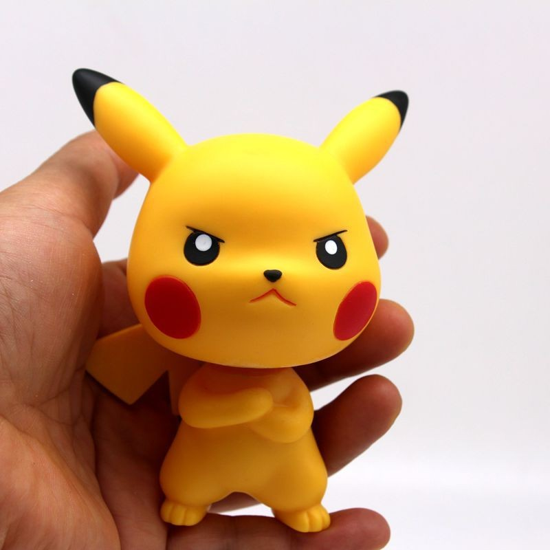 10CM Anime Action Figure Doll Head Shaking Head Toy Model Car Decoration Pikachu PVC Action Figure Toy 10cm spider man japanese anime lovely swing doll cute black panther mobile phone holder shaking head action