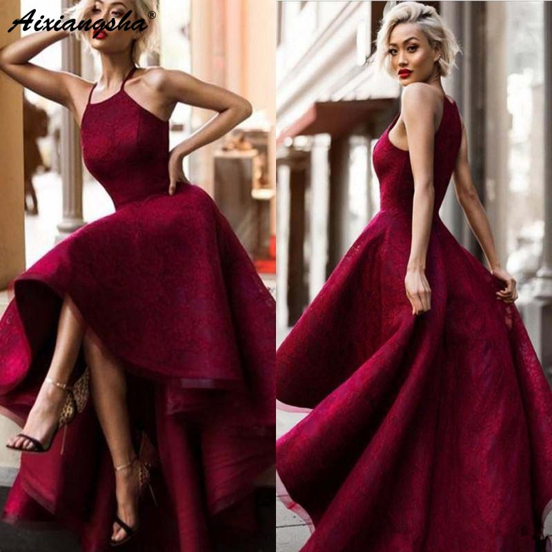 Burgundy 2019 A-line Halter Lace   Dress   Hello Low Plus Size Party Maxys Long Prom   Dress     Evening     Dresses   Tunic Party