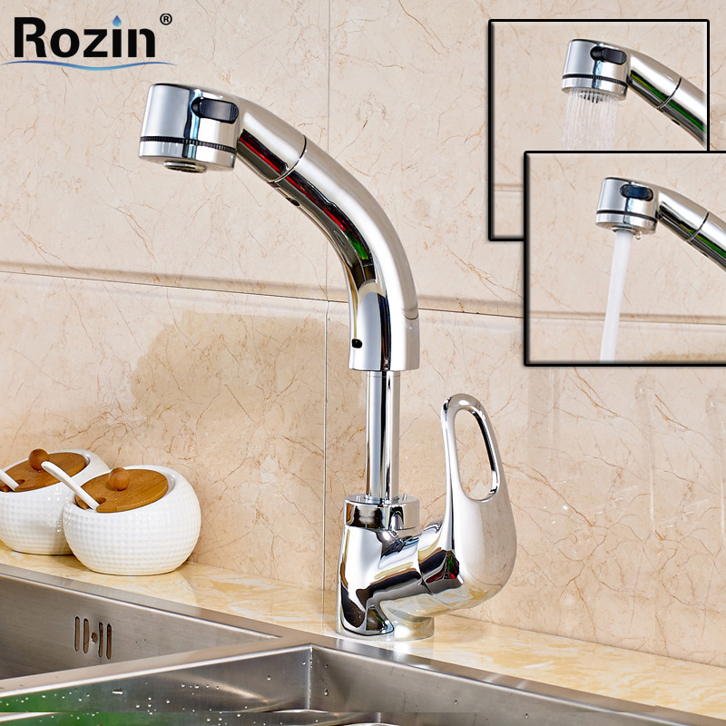 Creative chrome Height Adjustable Kitchen Sink Faucet Single Handle Pull Out Spout Hot and Cold Kitchen Water Taps kitchen chrome plated brass faucet single handle pull out pull down sink mixer hot and cold tap modern design