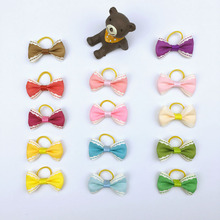 (50 pieces/lot) Pet Hair Bows With Rubber Band Cute Handmade Ribbon Small Dogs Cats Hair Accessories 14 Colors