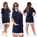 2017 Лето Большой Размер Женщин Dress Мода Письмо Печати Повседневная рубашка Платья Жира ММ L-6XL Свободные Партия Dress Плюс Размер Vestidos
