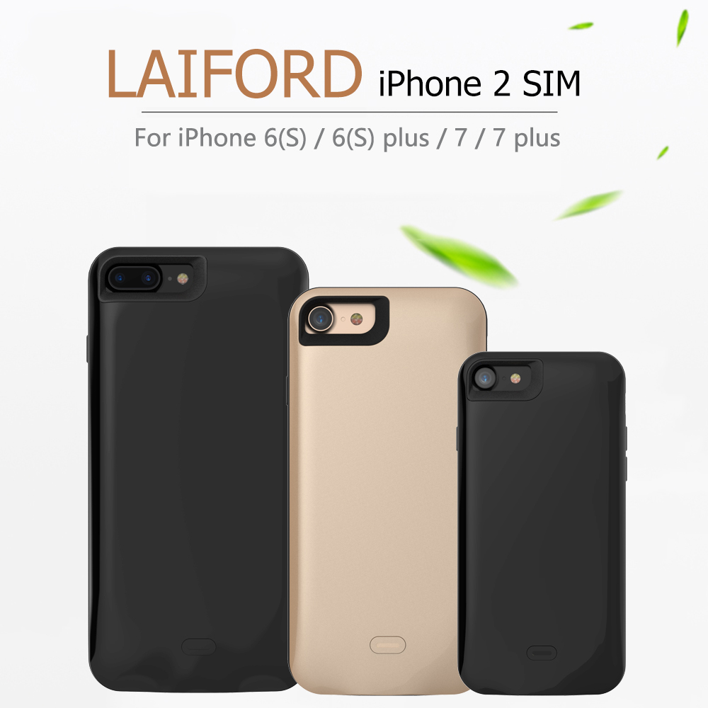 2018 Dual SIM двойной Adaper резиновой рамкой длительным временем ожидания для iPhone6 (s) /6 plus/7/7 плюс, 8/8 plus и 1800/2500 mAh Мощность банк