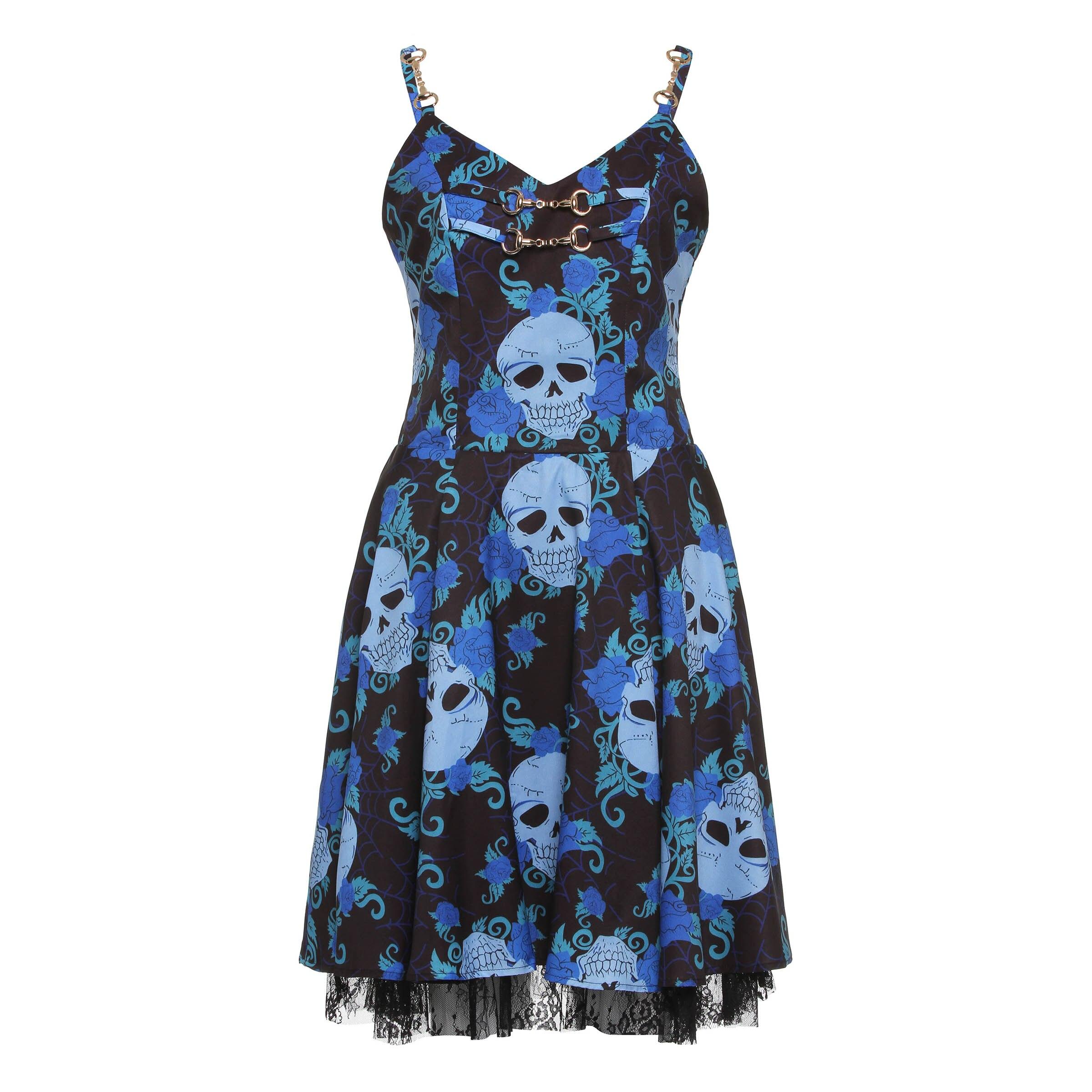 2018 Women skull Dress Summer Black See-through Dress Gothic Dress Female Backless Lace Dresses