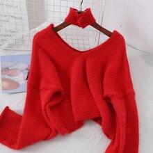 GTGYFF rojo azul negro blanco sexy cuello en V suéter oversize flojo suéter  jersey para las mujeres d6bdcda0f3c0