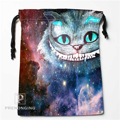 Custom Galaxy Cat Drawstring Bags Printing Fashion Travel Storage Mini Pouch Swim Hiking Toy Bag Size 18x22cm #171208-03