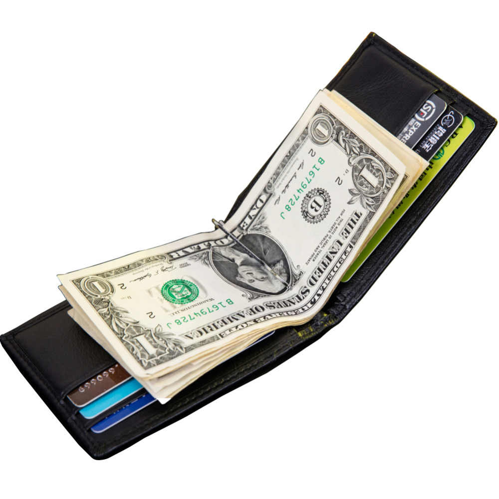 New Portable Design Genuine Cow Leather Men's Money Clips Wallet Black Coffee Quality Soft 2 Fold ID Credit Card Bit Money Clip