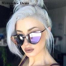f931d3e480 2019 nueva moda espejo ojo de gato gafas de sol de las mujeres abrigo  Vintage marco de Metal claro lentes gafas de sol para muje.
