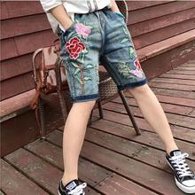 Fashion Female Summer new loose large Plus size women's flower embroidered retro jeans knee length Elastic Waist Short Jeans