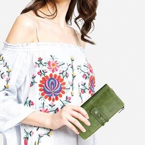 Image 5 - 連絡の本革の女性の財布ファッションレディースロングクラッチ財布ジッパーデザインコイン財布高品質カードホルダーバッグ