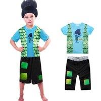 Retail Troll T Shirt Shorts Set Children Costumes For Boys Carnival Kids Costumes Summer Cosplay Trolls
