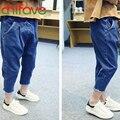 Chifave 2016 Nueva Primavera Verano Chicas Jeans Pantalones Ropa Bolsillos Claro Flojo Elástico Mediados de Cintura de Moda los pantalones Vaqueros Niños Pantalones