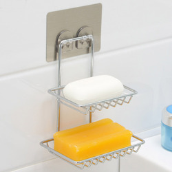Home Storage Suction Cup Firm Soap Dish Holder Cosmetic Sundries Double Layer Storage Shelves Bathroom Kitchen Organizer