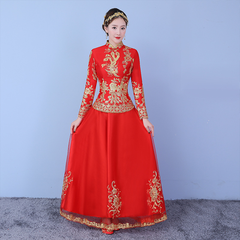 Vintage Asian Bride Wedding Dress Toast Clothes Elegant Lady Phoenix Sequins Cheongsam Classic Chinese Qipao Marriage Suit