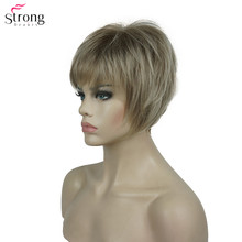 StrongBeauty peluca sintética para mujer, pelo liso corto, color borgoña/rubio Natural