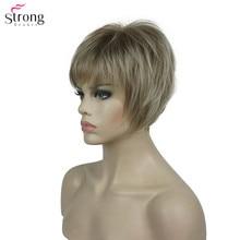 StrongBeauty peruka syntetyczna damska burgundia/blond peruki naturalne krótkie peruki z prostymi włosami