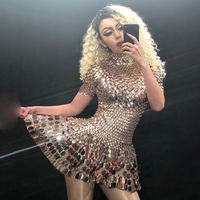 Shining Silver Mirrors Stone Dress Female Singer Dancer Bright Bodysuit Costume Nightclub Dress Oufit Party Dresses DNV10819