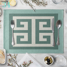 Geometric Art Stripes Pattern Linen Table Mat Placemats For  Kitchen Dining Place Mats Pads
