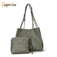 Vintage Solid Color Women Casual Tote Bag Large Capacity Hasp Shoulder Bags With Square Mini Wristlet