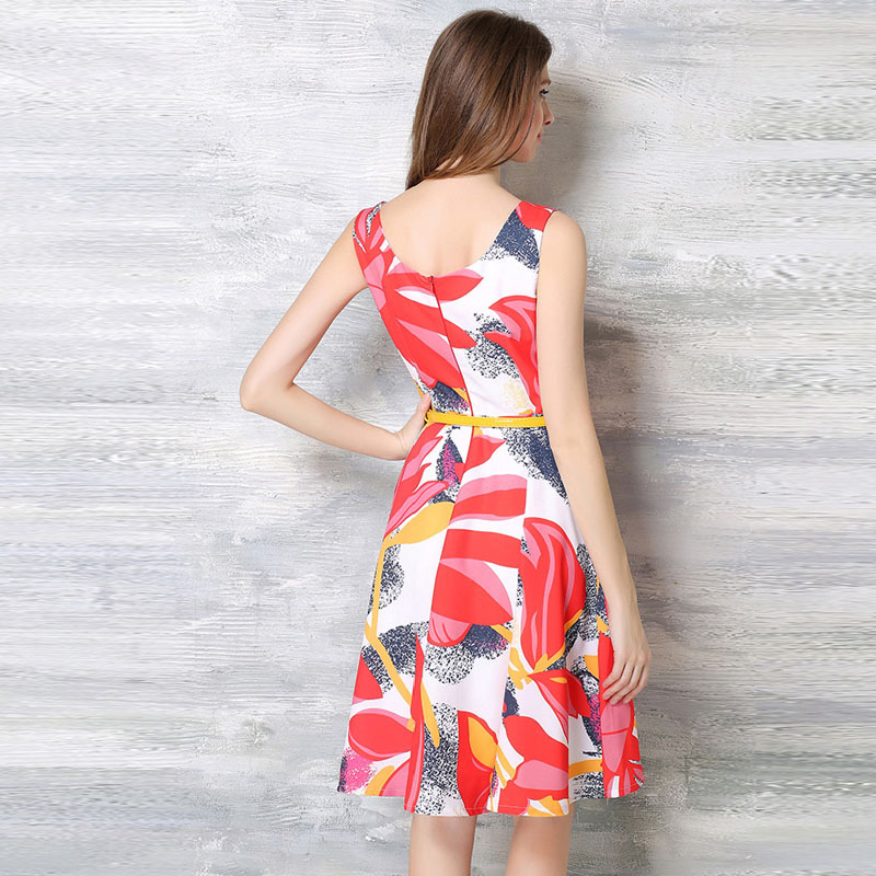 Femmes Roy ligne Au Manches Mode Robe D'impression De Sans D'été Filles Loisirs Pour Doux Longueur Genou Fans Rouge A 4FqfwtrxF