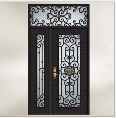 Hench 100% Steels Metal Iron  Glass Patio Doors