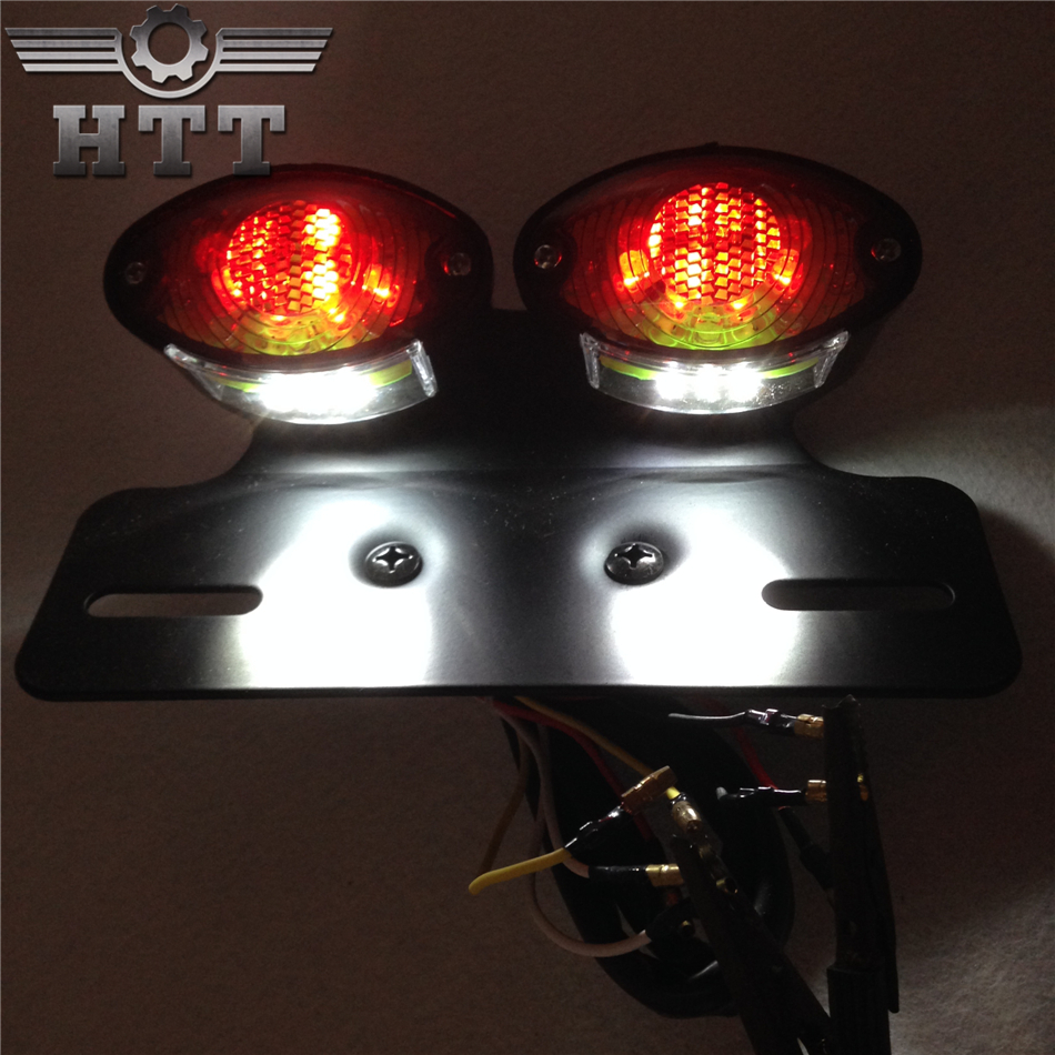 Aftermarket free shipping motorcycle parts Universal Cat Eye Custom Motorcycle Tail Brake License Plate light BLACK + SMOKE aftermarket free shipping motorcycle parts led tail brake light turn signals for honda 2000 2001 2002 2006 rc51 rvt1000r smoke