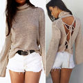Chic Womens Clothing Long Sleeve Pullover Turtleneck Loose  Knitted Sweater Jumper Knitwear Backless Bandage Tops NEW