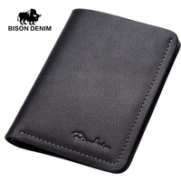 BISON DENIM Thin Wallet Men Short Wallets Business Casual First Layer Leather Wallet Business Wallet High
