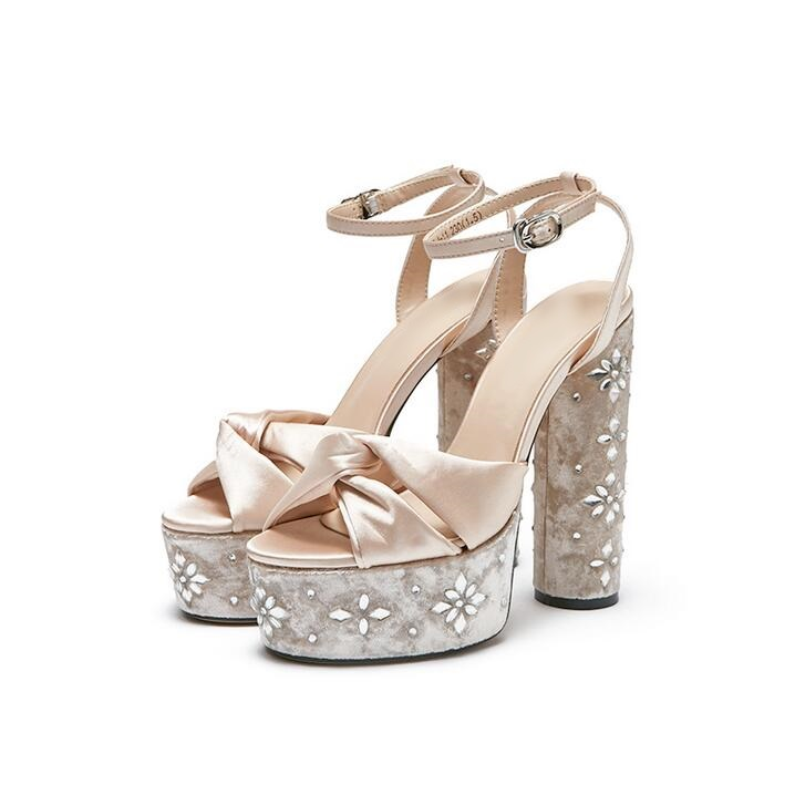 Sexy Crystal Suqare Heels Sandals With Rhinestones 15CM High Platform Black Beige Summer Women Sandals Peep Toe Ankle Strap ShoeSexy Crystal Suqare Heels Sandals With Rhinestones 15CM High Platform Black Beige Summer Women Sandals Peep Toe Ankle Strap Shoe