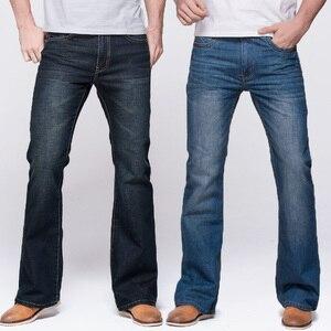 Image 1 - GRG Mens Jeans Tradition Boot Cut Leg Fit Jeans Classic Stretch Denim Flare Deep Blue Jeans Male Fashion Stretch Pants