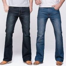 Grg calças de brim dos homens tradição corte perna ajuste jeans clássico estiramento denim flare azul profundo calças de brim masculino moda estiramento calças