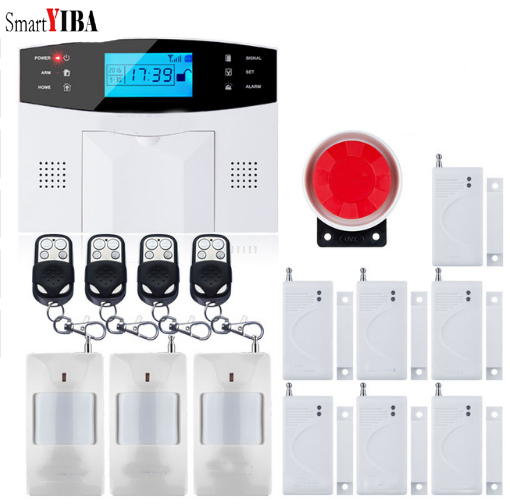 SmartYIBA Wireless SIM SMS Alert Home Alarm Security GSM Alarm System 7+99 Wired/Wireless Defense Zones IOS Android APP Control