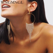 WNGMNGL 2018 Female Tassel Earrings Korean Luxurious Crystal Big Round Long Drop For Women New Fashion Pendant Jewelry