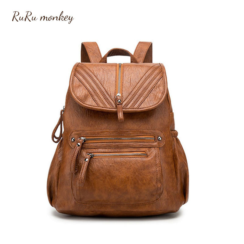 Backpack Female 2018 New Backpacks For Women Black Travel Backpack Soft Pu Leather School Bags For