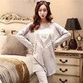 Весной и осенью и летом пижамы женщин одежда Корейский мультфильм повседневная мода Главная Обстановка свободные длинными рукавами брюки