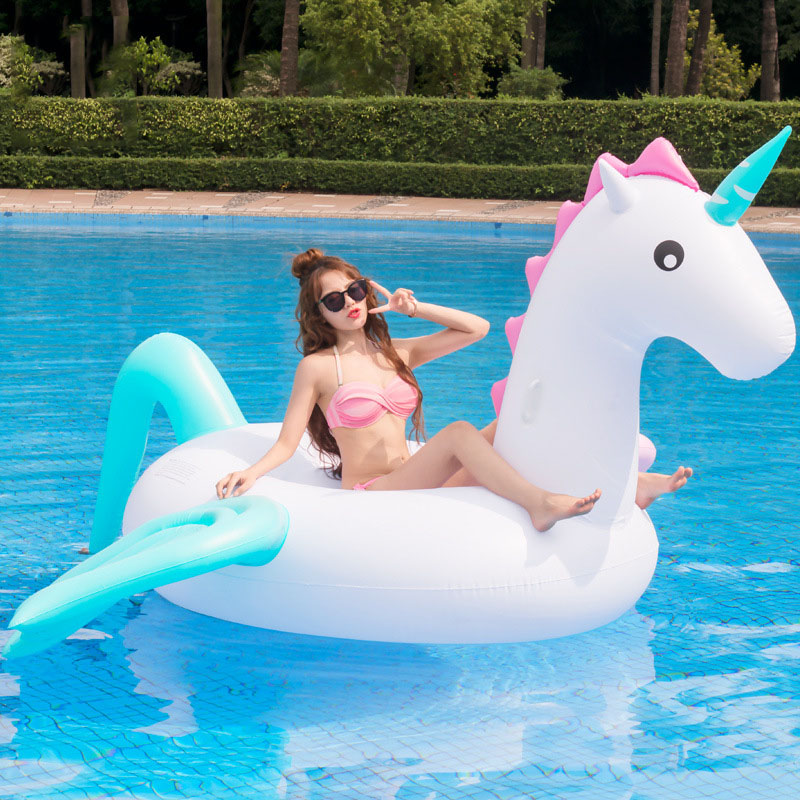 290 CM Inflatable Gigantic Unicorn Water Pool Rafts Toys Cute Unicorn Thicken Ride Float Water Bed Toys For Pool Party Seaside