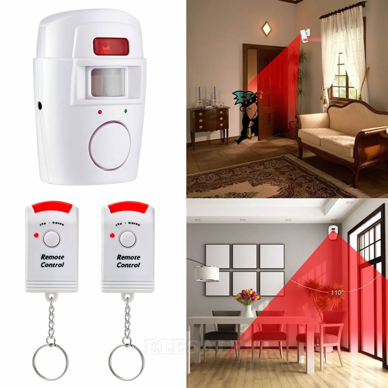 Image 2 - Wireless PIR Motion Sensor Detector Alarm With 2 Remote Control Power Adapter For Home Shed Garage Caravan Alarm Security System-in Sensor & Detector from Security & Protection